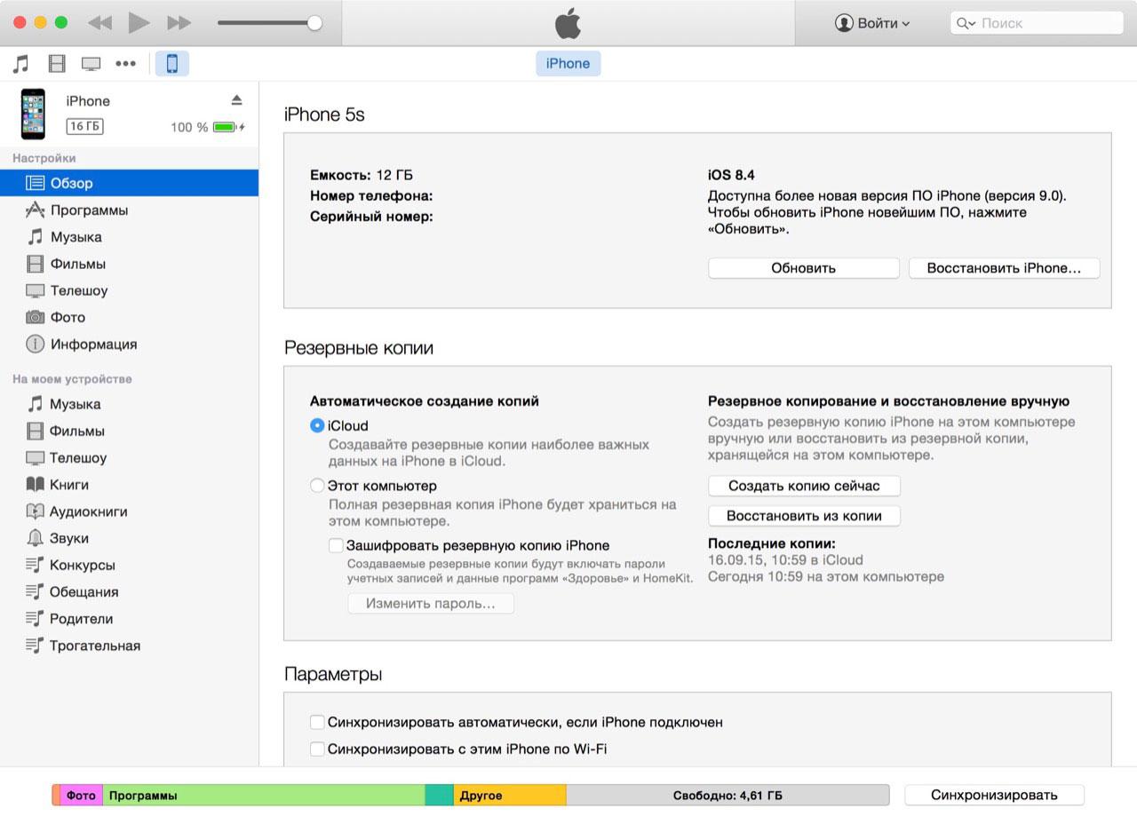 Настройки синхронизации iPhone в iTunes