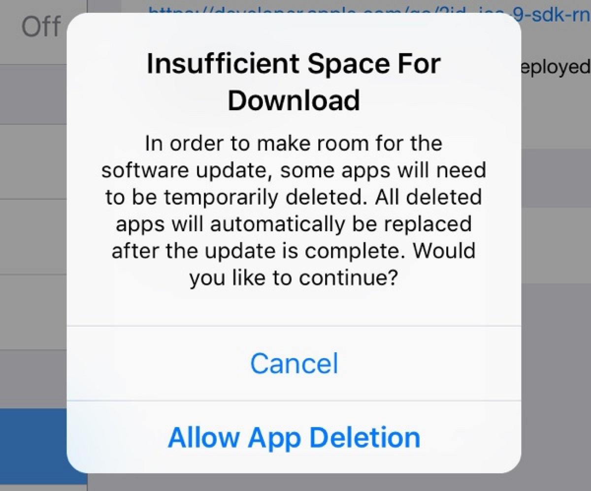 Недостаточно свободного места для загрузки iOS 9