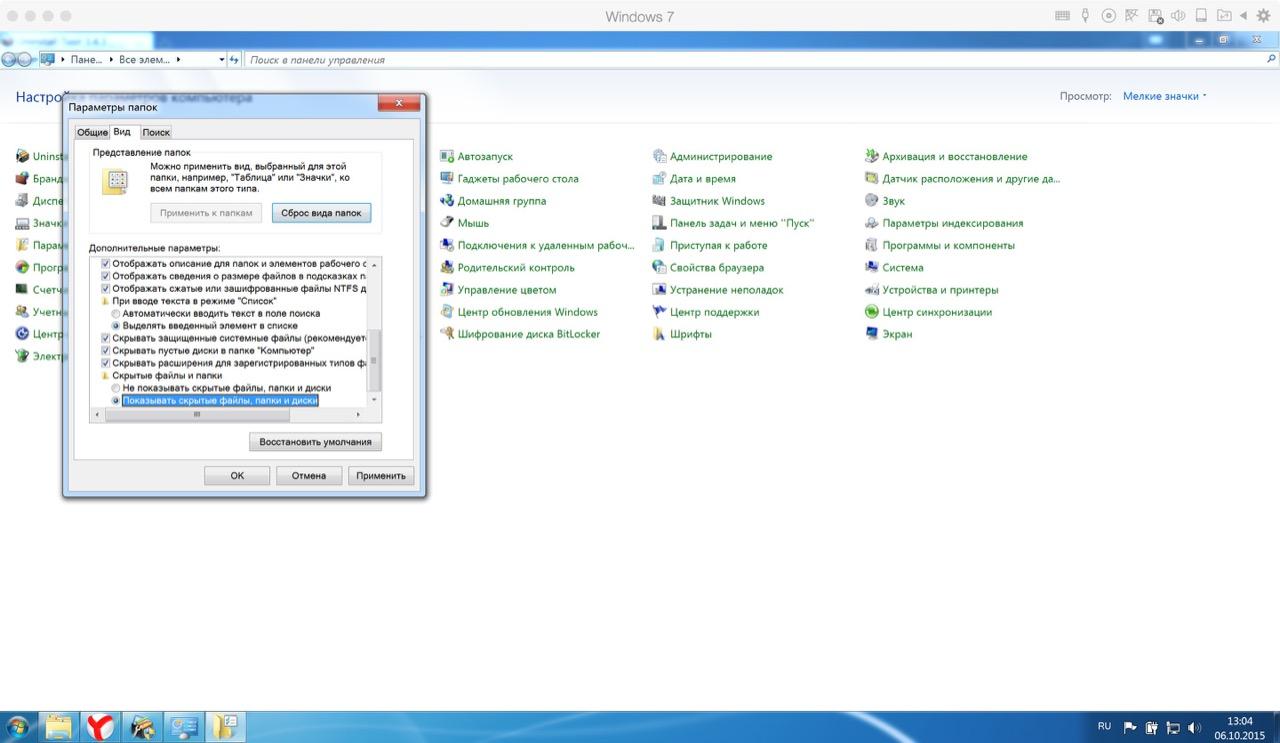 Как включить отображение скрытых файлов в Windows