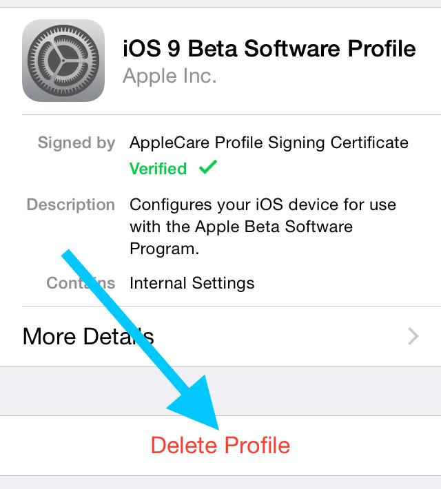 Удаление установленного профиля iOS 9 Public Beta