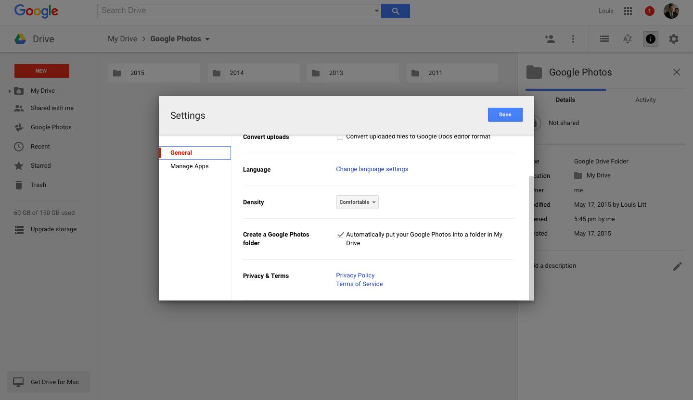Объединение Google Диск и Google Фото
