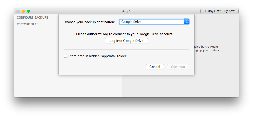 Добавление облачного аккаунта в Google Drive