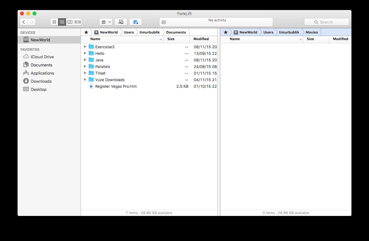 Панели файлов ForkLift