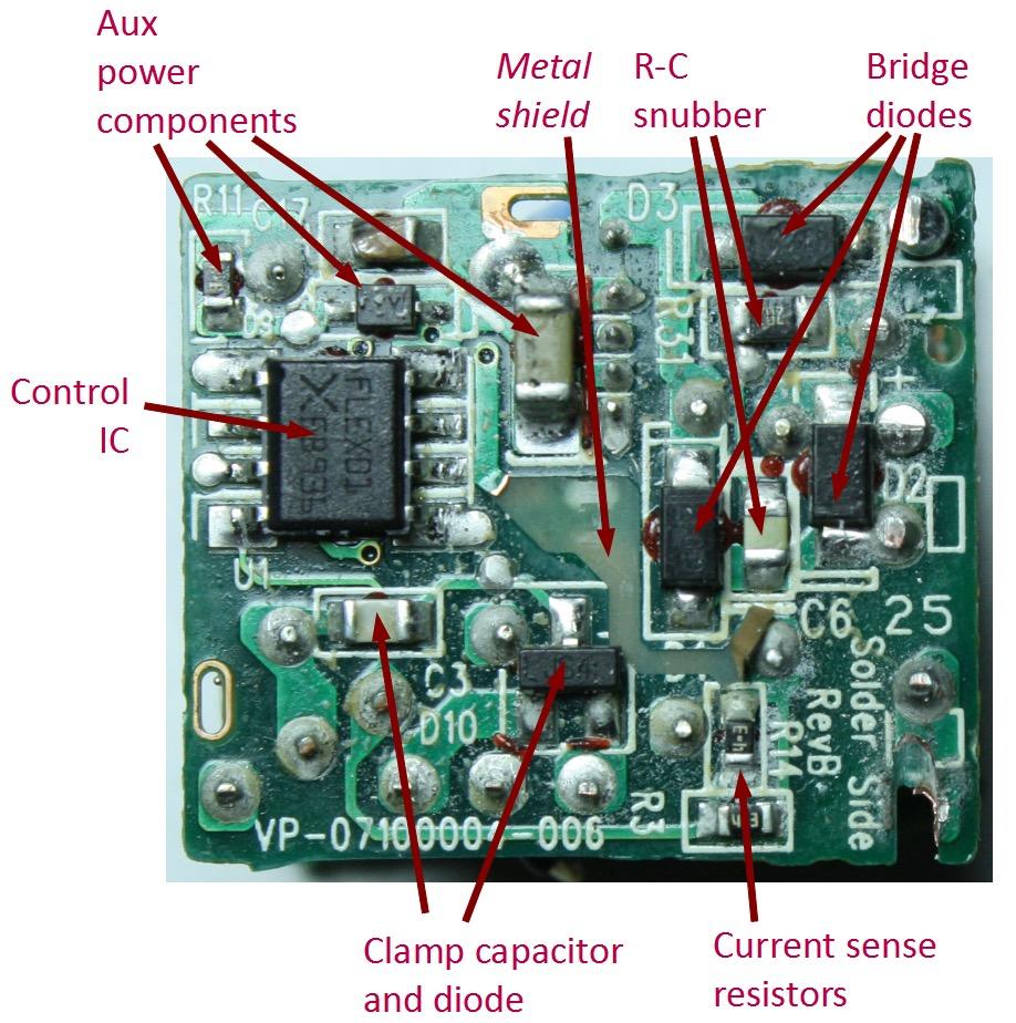 Электрическая схема в зарядном устройстве для iPhone