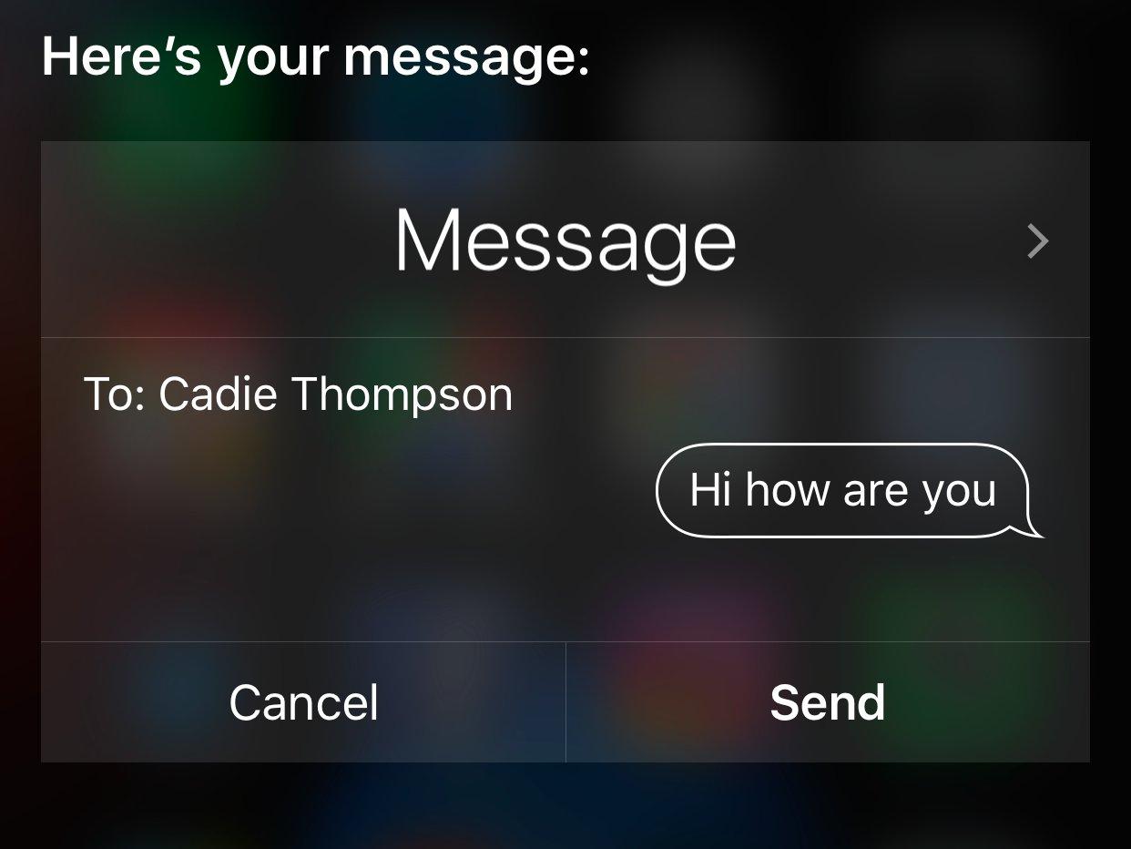 Типичное подтверждение ввода данных при управлении через Siri