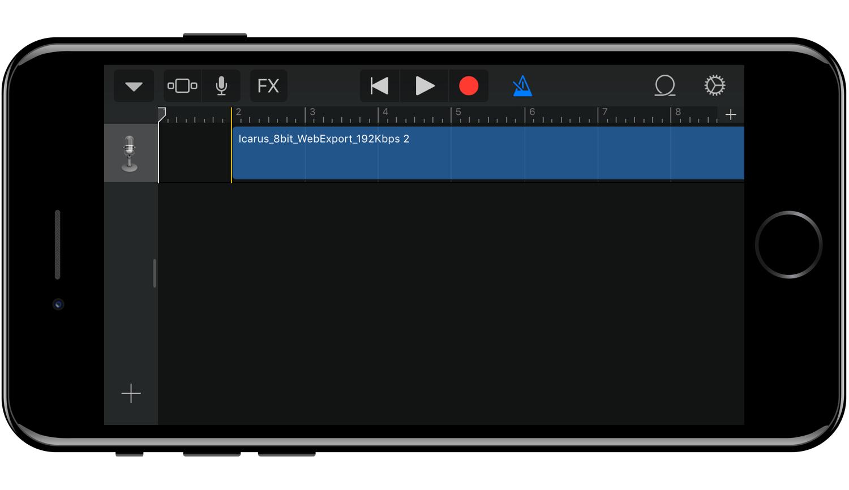 Файл на дорожке в режиме loops - Гараж бэнд айфон